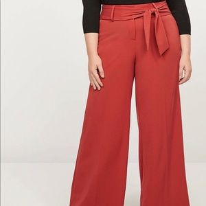 Rust High Rise Belted Wide Leg Trousers